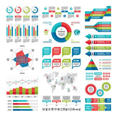 optimize: Business infographic concept - vector set of infographic elements in flat design style for presentation, booklet, website etc. Big set of Infographics. Infographics collection. Vector icons set.