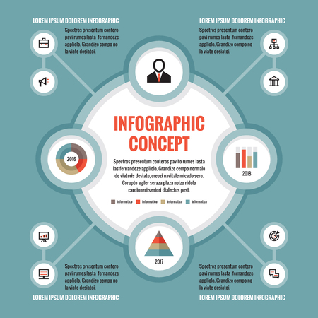 abound: Infographic business concept - creative vector layout with icons. Circles and cycle. Design elements.