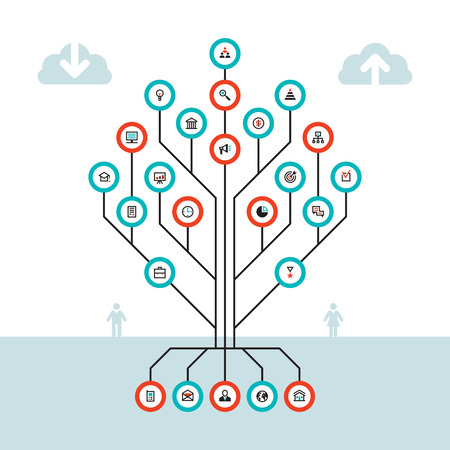 tree plan: Business infographic concept - vector layout for presentation, website, booklet and other design projects. Infographic tree. Business icons vector set.