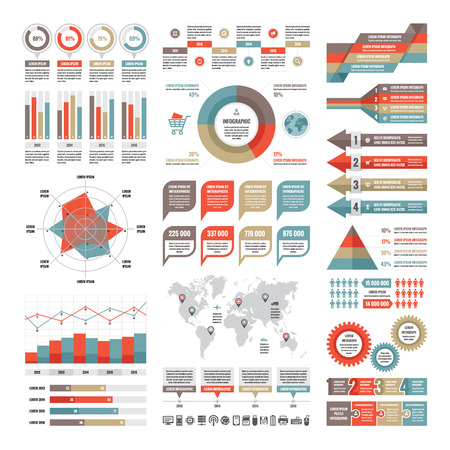 Infographic business concept - vector set of infographic elements in flat design style for presentation, booklet, website etc. Big set of Infographic. Infographic collection. Vector icons set.