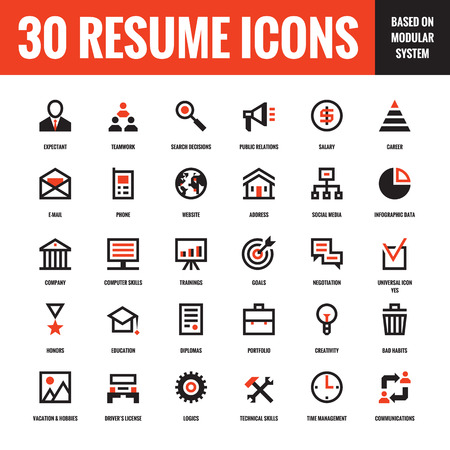 30 resume creative vector icons based on modular system. Set of 30 business concept vector icons for resume, presentation, website and other design and business project. Design elements. Vettoriali