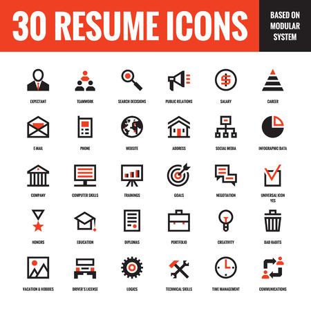 pictogramme: 30 CV créative icônes vectorielles basé sur un système modulaire. Ensemble de concept de vecteur 30 affaires icônes pour CV, présentation, site web et autres conception et projet d'entreprise. Les éléments de conception.