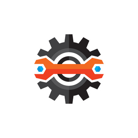 cog gear: Gear vector . Gear and wrench icon sign in flat style design. Gear flat icon. Support flat icon. Setting flat icon. Cog flat icon. SEO flat icon. Design element. Illustration