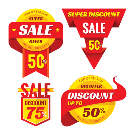 the offer: Sale - creative vector badges set. Special discount vector badges collection. Super offer concept stockers. Design elements.