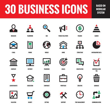 30 affaires créatives icônes vectorielles basés sur le système modulaire pour projet d'entreprise présentation, site web, brochure, CV et autres conception et. Les éléments de conception. Vecteurs