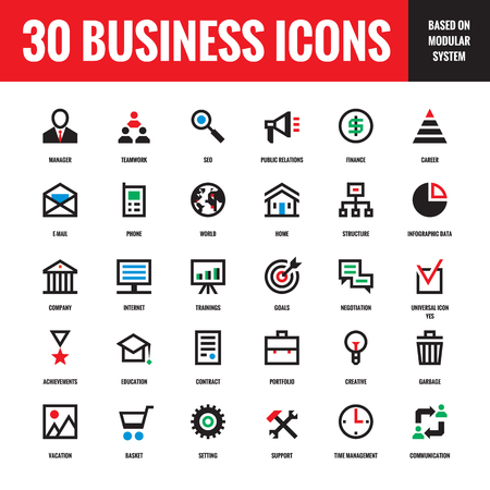icons set: 30 business creative vector icons based on modular system for presentation, website, booklet, resume and other design and business project. Design elements.