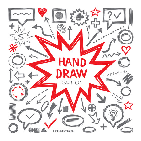 Hand draw vector illustrations. Arrows, objects, balloons and other design elements. Hand draw infographic elements - vector set. Hand draw design elements collection.