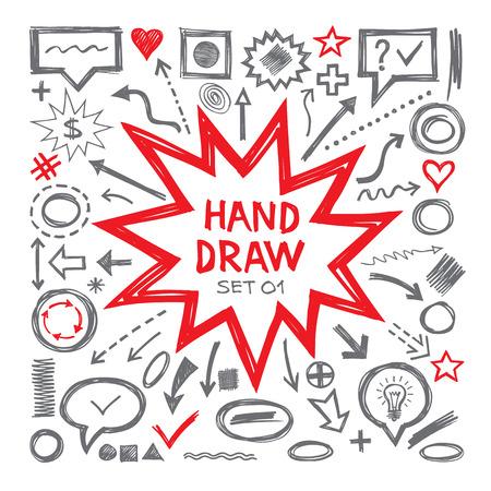 Drenaje de la mano ilustraciones de vectores. Flechas, objetos, globos y otros elementos de diseño. Drenaje de la mano elementos infográficos - conjunto de vectores. Drenaje de la mano colección de elementos de diseño.