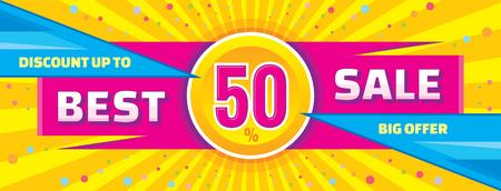 ベスト販売ベクトル バナー。最大 50 のベクター バナーを割引します。大きな提供ベクター バナー。販売の抽象的な水平ベクトル バナー。 写真素材 - 49549180