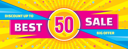 Best sale vector banner. Discount up to 50 vector banner. Big offer vector banner. Abstract horizontal vector banner of sale. 일러스트