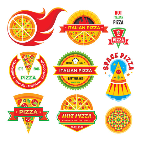 italian pizza: Pizza - vector badges set. Pizza - vector labels collection. Illustration