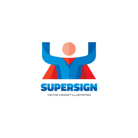 pictogramm: Supersign - vector  concept in flat style design. People character.