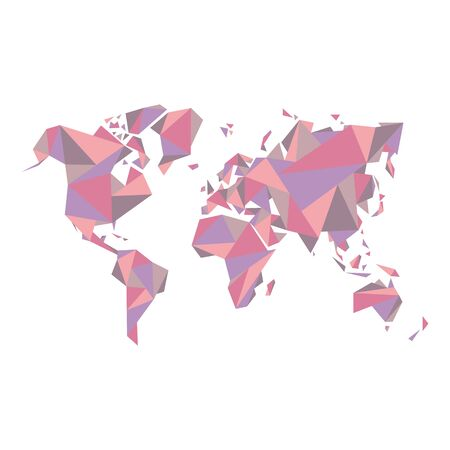 other world: Abstract world map - vector illustration - Geometric Structure in pastel color for presentation, booklet, website and other design projects. Illustration