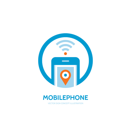 smarthone: Mobile location vector concept illustration. Smarthone vector creative design. Mobile technology. Wifi mobile phone design. GPS location in smartphone.