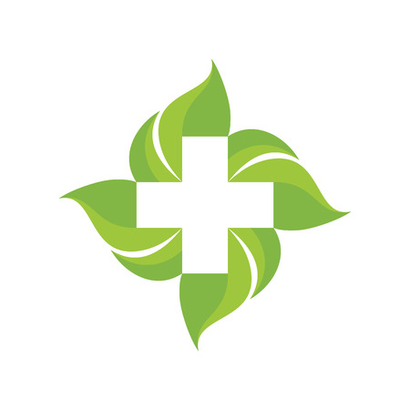 design template: Medical cross and green leafs - vector  concept illustration. Medicine. Healthcare. Nature. Vector template. Design elements.