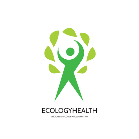 wellness environment: Ecology vector  concept illustration. Health. Healthcare. Wellness sign. Nature. Human character with green leafs. Vector template. Design element.