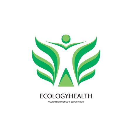 wellness environment: Ecology vector concept illustration. Health . Healthcare. Wellness sign. Nature. Human character with green leafs. Vector template. Design element.