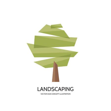 Resumen de vectores de árbol insignia ilustración del concepto. Concepto de la muestra de paisajismo. Naturaleza logotipo de la muestra. Modelo de la insignia del vector. elemento de diseño.