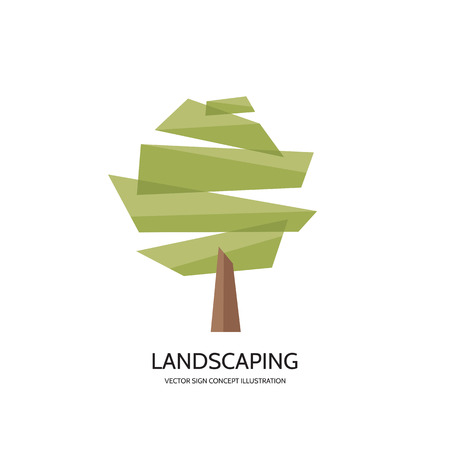 Abstract tree vector logo concept illustration. Landscaping concept sign. Nature logo sign. Vector logo template. Design element.