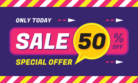 Concept vector banner - special offer - only today 50 off sale eveything. Sale vector banner. Sale abstract background. Super big sale creative layout. Sale horizontal geometric banner template.  イラスト・ベクター素材