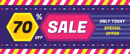 vector banner: Concept vector banner - special offer - only today 70 off sale. Sale vector banner. Sale abstract background. Super big sale creative layout. Sale horizontal geometric banner template.