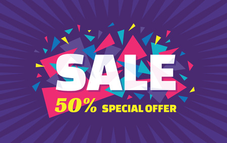 business  deal: Concept vector banner - special offer - 50 sale. Sale banner with abstract triangle elements. Sale abstract background. Super big sale creative layout. Sale horizontal geometric banner template.