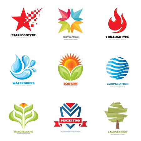 Logo vector set - creatieve illustraties. Logo collectie. Vector logo design. Star, water, vlam, brand, samenvatting, natuur, doorbladert, bloem, boom, schild, logo. Vector logo template. Design elementen.