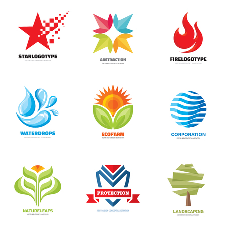 Logo vector set - creative illustrations. Logo collection. Vector logo design. Star, water, flame, fire, abstract, nature, leafs, flower, tree, shield, logo. Vector logo template. Design elements. Imagens - 51561374