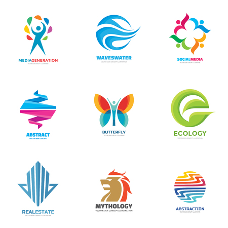 Logo vector set - illustrazioni creative. collezione Logo. disegno vettoriale logo. Umana, ecologia onda, social media, farfalla, astratto, leone, logo immobiliare. logo immobiliare. Vector logo template.