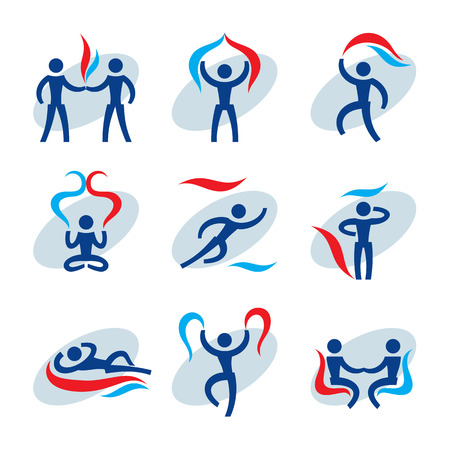manipulation: 9 People vector icons set. Human character concept illustrations. Humans vector signs. Human icons collection. Humans and abstract objects manipulation. Abstract human figures in motion.