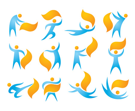character abstract: 12 People vector icons set. Human character concept illustrations. Humans vector signs. Human icons collection. Humans and abstract objects manipulation. Abstract human figures in motion. Illustration