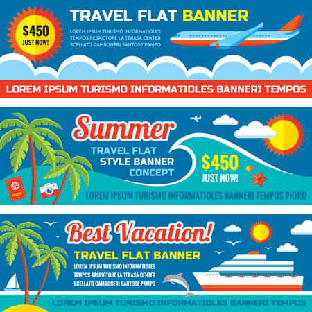 travel backgrounds: Summer travel - decorative horizontal vector banners set in flat style design trend. Summer travel vector backgrounds. Summer vacation layout. Summer, travel and transport flat icons. Design elements.