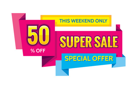 Concept vector banner - special offer - 50 off sale eveything. Sale vector banner in origami style. Sale abstract background. Super big sale creative layout. Sale horizontal geometric banner template Imagens - 52813675