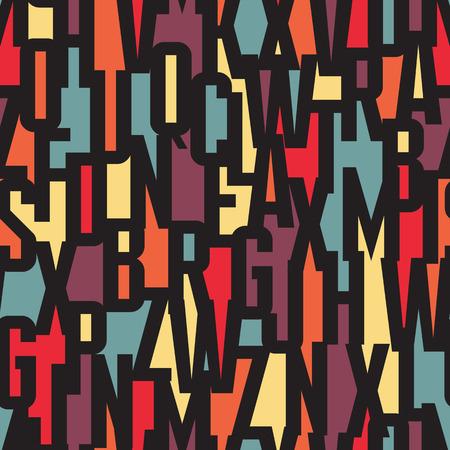 fond police - modèle vectoriel sans soudure. vecteur Typographie de fond sans soudure. Lettrage concept de pattern. Letters background seamless background coloré. Abstrait arrière-plan géométrique.