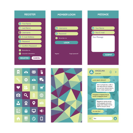 chat icons: Mobile interface vector template in flat style for material design projects. UI kit elements. Register login form, message, chat template. Vector icons set. Abstract polygonal background.