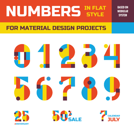 Abstract vector numbers in flat style design for material design creative projects. Geometric numbers symbols. Decorative figures. Abstract numerals sign. Arabic numerals 0, 1, 2, 3, 4, 5, 6, 7, 8, 9