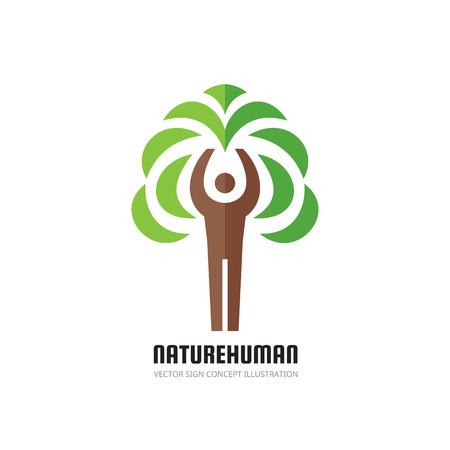 tree logo: Nature human - vector logo concept illustration. Ecology logo sign. Nature logo sign. Eco logo sign. Human character logo. People logo. Tree logo. Vector logo template. Design element.