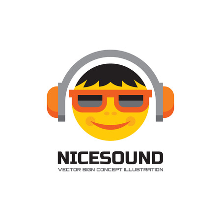 record label: Nice sound - vector logo concept illustration in flat style design. Audio mp3 logo. Music logo. Dj logo sign. Sound logo icon. Music lover human character logo. Headphones logo. Record label songs. Illustration