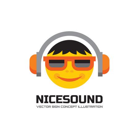 Nice sound - vector logo concept illustration in flat style design. Audio mp3 logo. Music logo. Dj logo sign. Sound logo icon. Music lover human character logo. Headphones logo. Record label songs. Illustration