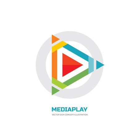 logo music: Media play - vector logo concept illustration. Media logo sign. Play logo icon. Player logo icon. Movie player logo. Multimedia logo icon. Digital tv logo. Audio music logo. Abstract triangle logo.
