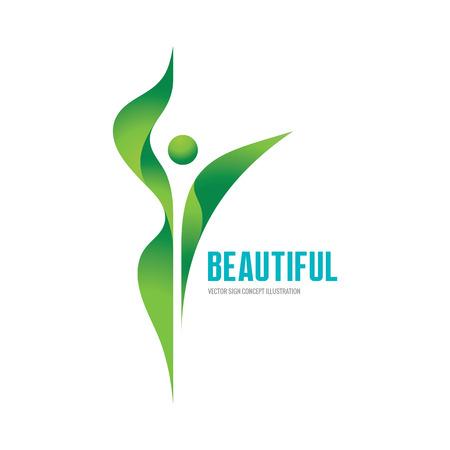 Schöne - Vektor-Logo-Konzept Illustration. Gesundheit Logo. Gesunde Logo. Schönheitssalon-Logo. Fitness-Logo. Frau Logo. Frauen-Logo. Menschlichen Charakter-Logo. Blatt-Logo. Blätter Logo. Natur-Logo. Ökologie logo