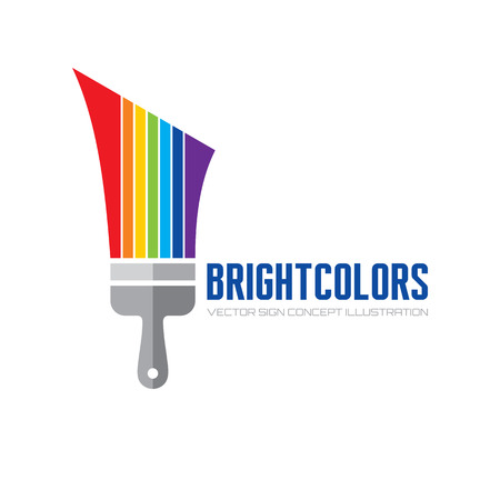 Bright color - vector logo concept illustration. Brush paint logo sign. Art logo sign. Rainbow paints logo sign. Paint shop logo sign. Colorful decorative logo. Vector logo template. Design element. Ilustração