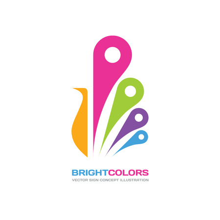 Bright colors - vector logo concept illustration in flat style design. Peacock logo sign. Bird logo sign. Peafowl logo sign. Paint shop logo. Beauty salon logo. Vector logo template. Design element.