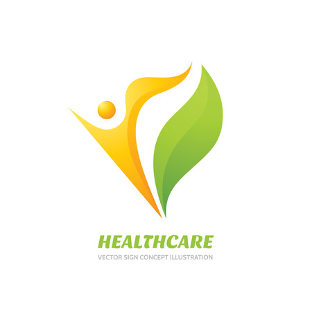 Healthcare vector logo concept illustration. Health logo sign. Healthy logo. Human character logo sign. Leaf logo. Nature logo. Eco logo. Ecology logo. Positive happiness logo. Vector logo template.