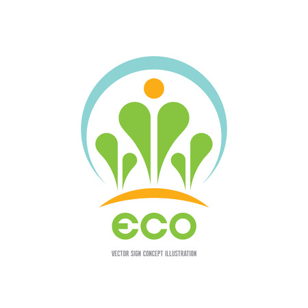sprouts: Eco - vector logo concept illustration. Ecology logo. Leafs logo. Bio logo. Floriculture logo. Organic logo. Agriculture logo. Nature logo sign. Sprouts logo icon. Vector logo template. Design element Illustration