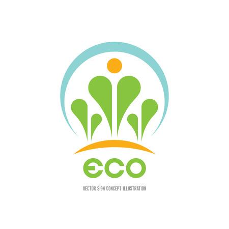 Eco - vector logo concept illustration. Ecology logo. Leafs logo. Bio logo. Floriculture logo. Organic logo. Agriculture logo. Nature logo sign. Sprouts logo icon. Vector logo template. Design element
