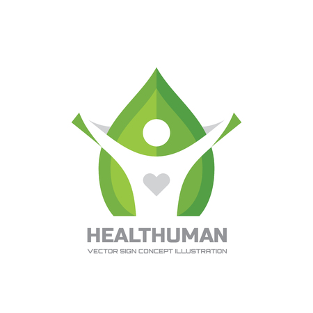 healt: Healt Human - vector logo Concept illustration in flat style design. Human character logo sign. Leaf logo sign. Healthcare logo sign. Nature logo sign. Green life logo sign. Vector logo template.
