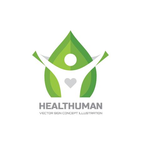 Healt Human - vector logo Concept illustration in flat style design. Human character logo sign. Leaf logo sign. Healthcare logo sign. Nature logo sign. Green life logo sign. Vector logo template. Logo