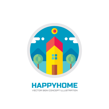 house logo: Happy home - vector logo concept illustration in flat style design. House logo sign. Home logo sign. Building logo sign. Real estate logo sign. Cottage logo sign. Farm logo sign. Vector logo template