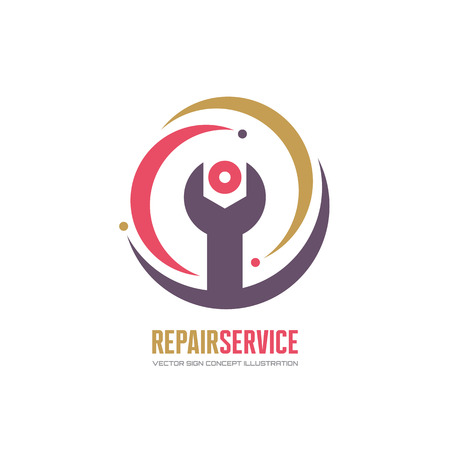 industry logo: Repair service vector logo concept illustration in classic style. Wrench logo sign. Tech logo sign. Technology logo sign. Wrench vector icon. Web SEO logo icon. Vector logo template. Design element.